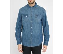 Blaues Slim-Westernhemd aus Jeansstoff mit Taschen