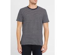 Leinen-T-Shirt mit Rundhalsausschnitt und feinen Streifen in Weiß und Blau