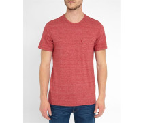 Rot meliertes T-Shirt Pocket