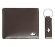 Set aus Portemonnaie und Schlüsselbund in Braun mit Logo