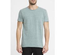 Grün meliertes Vintage-T-Shirt mit Rundhalsausschnitt 1003