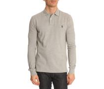 Graues Polo-Shirt mit langen Ärmeln Custom Fit