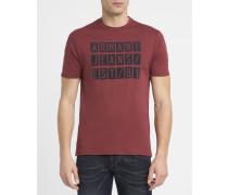 Bordeauxrotes T-Shirt mit Rundhalsausschnitt und aufgeflocktem AJ-Logo in Marineblau