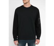 Schwarzes Sweatshirt mit Tasche am Ärmel