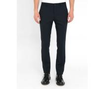 Marineblaue Slim-Hose aus Wolle Hopsack