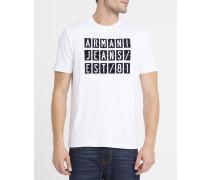 Weißes T-Shirt mit Rundhalsausschnitt und aufgeflocktem AJ-Logo in Marineblau