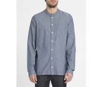 Jeansblaues Hemd Sierk mit Mao-Kragen und Brusttasche