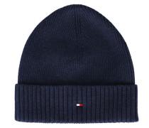 Mütze aus Baumwoll-Kaschmir in Marineblau