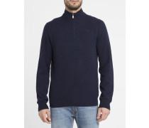 Marineblauer Pullover mit halben Reißverschluss, -Logo und Kontrastellenbogen