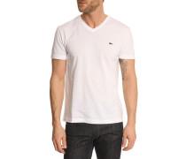 Jersey-T-Shirt mit V-Ausschnitt, weiß