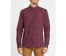 Anliegendes Hemd ButtonDown Kieran mit Mikrokaromuster in Marineblau und Rot