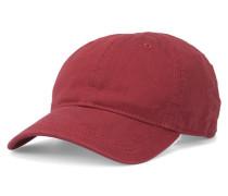 Rote Baseball-Mütze aus Baumwolle mit seitlichem Krokodil-Logo