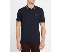Marineblaues Slim-Fit-Poloshirt aus Baumwoll-Piqué mit weißer Borte und Brustlogo