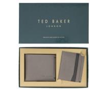 Set mit Portemonnaie und Kartentasche aus taupegrauem Leder