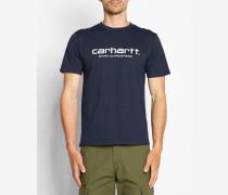 Blaues T-Shirt mit Rundhalsausschnitt und WIP-Logo