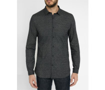Braunes Slim-Hemd mit kleinem schwarzen Kragen und Miniblumenmuster