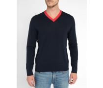 Marineblauer Baumwollpullover mit V-Ausschnitt