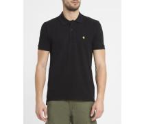 Schwarzes Poloshirt mit Brustlogo