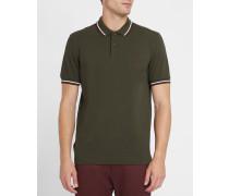 Slim-Fit-Poloshirt Classic in Khakibraun und Ecru
