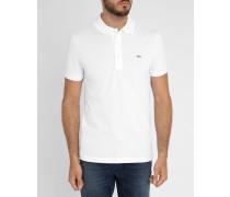 Weißes kurzärmeliges Slim-Poloshirt mit -Logo Elastan