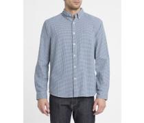 Blau-weißes Hemd aus Baumwolle mit Hahnentrittmuster und Button-Down-Kragen