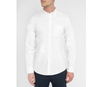 Weißes Oxfordhemd mit geknöpftem Kragen Rogers