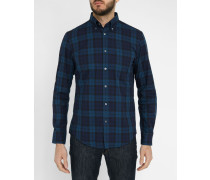 Blau-grünes Plaid-Hemd Washed Twill