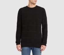 Pullover mit Rundhalsausschnitt Vegan Modest Stripe in Schwarz