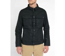 Schwarze gewachste Jeansjacke mit Stretchanteil, doppelten Taschen und Biker-Kragen Vodan 3D Slim