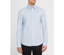 Himmelblaues und schwarzes Popeline-Hemd mit Motiv
