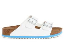 Zweifarbige Birko-Flor-Sandalen in Weiß und Hellblau Arizona SL