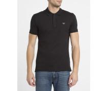 Slim-Poloshirt mit Reißverschluss am Kragen und Brustlogo in Schwarz