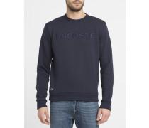 Marineblaues Sweatshirt aus Baumwoll-Piqué mit Rundhalsausschnitt und bordeauxrotes Tarnmuster-Logo