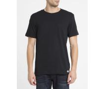 Schwarzes T-Shirt mit Brusttasche und Rundhalsausschnitt