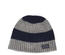 Grau-blau gestreifte gerippte Wollmütze