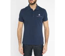 Strick-Poloshirt Pocket Stripes in Marineblau