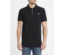 Schwarzes Poloshirt Trikolore mit Aufnäher