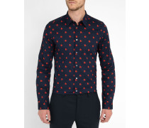 Popeline-Hemd Tailored mit Heart Print in Marineblau