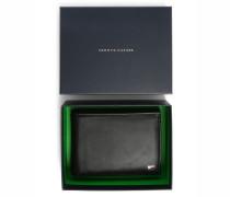 Schwarze Leder-Brieftasche Eton in italienischem Format