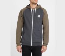 Zweifarbiges Kapuzensweatshirt mit Reißverschluss in Grau und Khakibraun De College