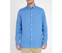 Blaues Slimfit-Leinenhemd Plain Linen