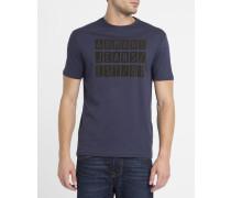 Marineblaues T-Shirt mit Rundhalsausschnitt und aufgeflocktem AJ-Logo in Camel