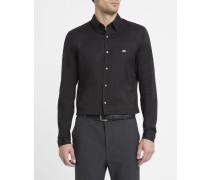 Schwarzes Slimfit-Hemd aus Stretch-Popeline mit Brustlogo