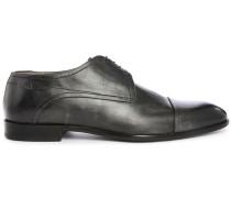 Schwarze Leder-Derbies Toe Cap