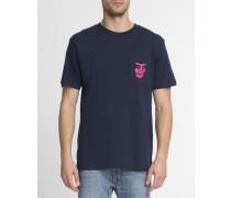Blaues T-Shirt mit Brusttasche und Aufdruck The Creeper