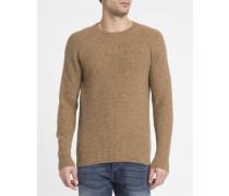 Kamelbrauner Pullover Edris Reiskornmuster Shetland