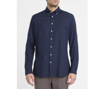 Marineblaues Slimfit-Oxford-Hemd mit Kragen zum Knöpfen