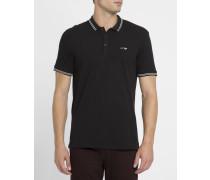Schwarzes Poloshirt ML aus Baumwoll-Piqué mit weißer Borte und Brustlogo