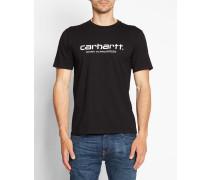 Schwarzes T-Shirt mit Rundhalsausschnitt und WIP-Logo