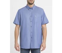 Marineblaues Piqué-Hemd mit geknöpftem Kragen, Taschen und Krokodil-Logo
